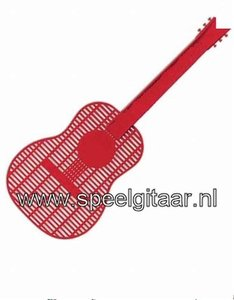 Vliegenmepper in de vorm van een gitaar, rood