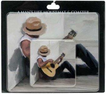 Muismat en onderzetter met afbeelding van een akoestische gitarist