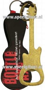 Flessenopener in de vorm van een elektrische gitaar, bronskleurig