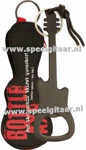 Flessenopener in de vorm van een elektrische gitaar, zwart