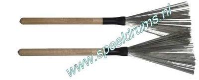 Brushes, metaal, houten handvat (1 paar)