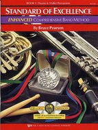 Standard-Of-Excellence:-Enhanced-Compr.-Band-Method-Book-1-(Drums-Mallet-Percussion)-(Book-2-CD)
